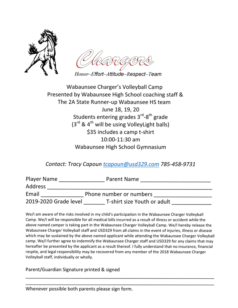 Charger Summer Volleyball Camp