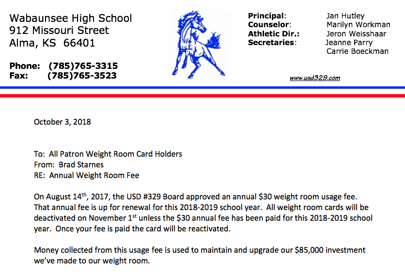 2018-2019 Weight Room Usage Annual Fee Renewal