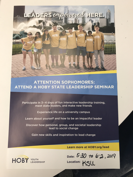 Sophomores only: let Mrs. Workman know if you are interested in attending this seminar at KSU this May30-June2, 2019. Great fun and super opportunity!!