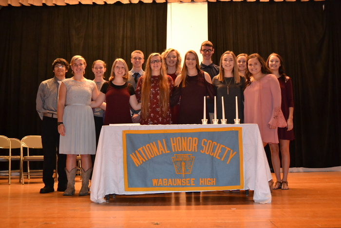 New and current NHS members gather at Monday's induction ceremony.