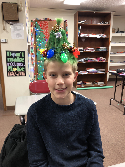 Crazy Christmas hair day at Paxico Middle School
