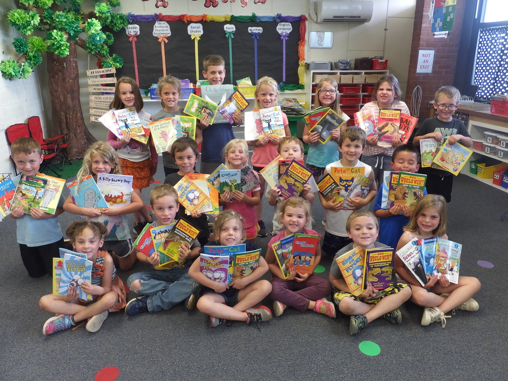 Kindergarten with their new books.