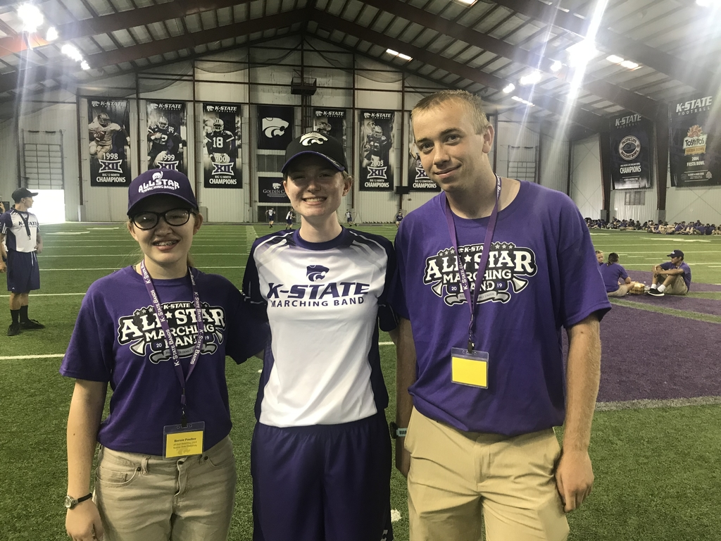 Bernice Poulter and Luke Stuhlsatz in the K-State All Star High School Marching Band with Jessica Vanstory, Wabaunsee grad.