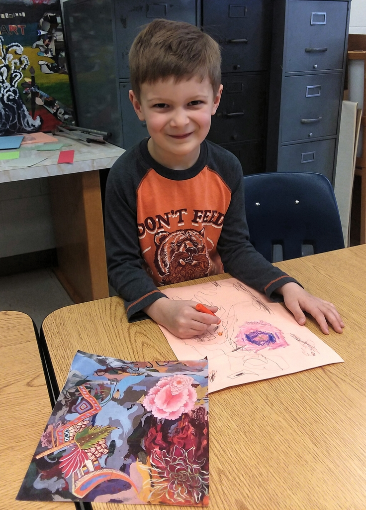 Leo working on his Alison Mary Kay inspired artwork.